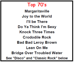 Top Karaoke Songs - Top 70's