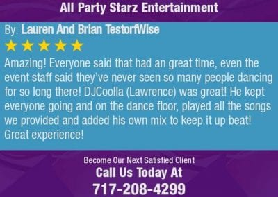 Lancaster Wedding Dj Review Dj Cool La All Party Starz Entertainment Dj 01