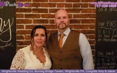 Wrightsville Wedding DJ, Burning Bridge Tavern, Wrightsville PA, Congrats Amy & Jason