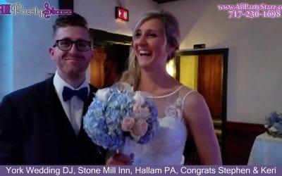 York Wedding DJ, Stone Mill Inn, Hallam PA, Congrats Stephen & Keri