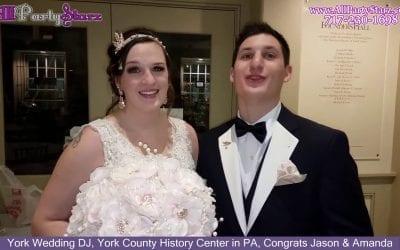 York Wedding DJ, York County History Center in PA, Congrats Jason & Amanda
